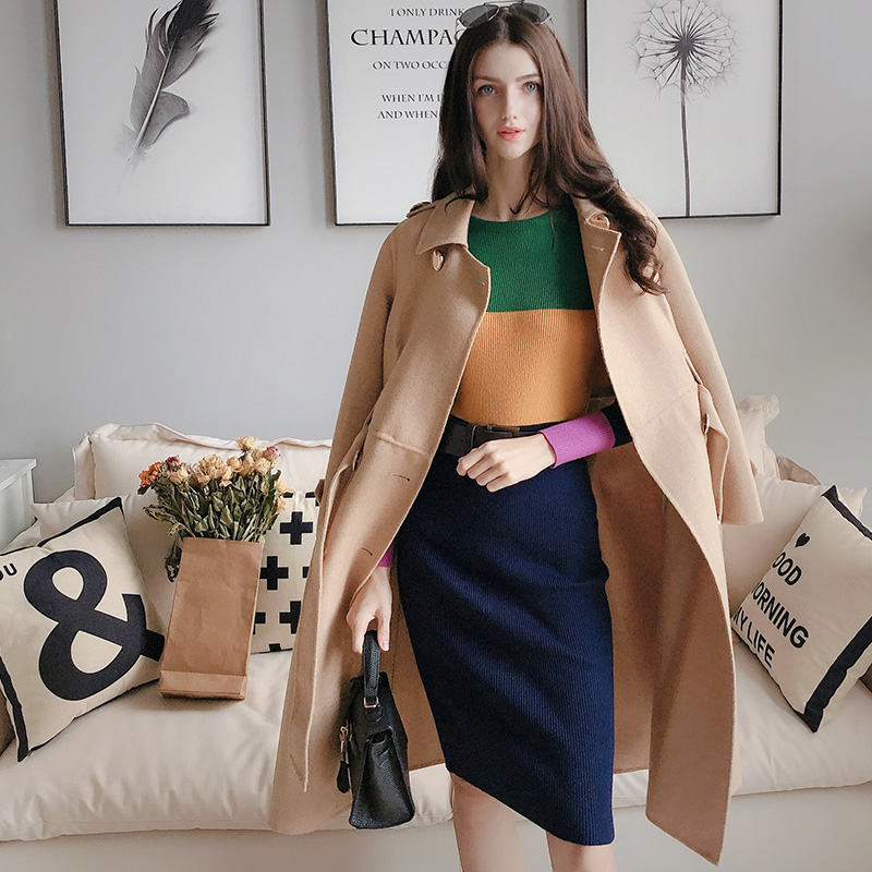 Dabuwawa Contrast Color Long Pencil Dress For Girls Women Lady New Winter Vintage Elegant Slim Knitted Midi Dresses D18DDR033