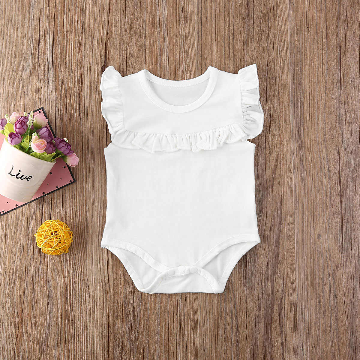 2020 Baby Summer Clothing Newborn Baby Girl Clothes Ruffled Sleeveless Bodysuit Solid Playsuit Jumpsuit Outfits Sunsuit