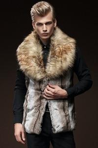 Image 5 - 무료 배송 새로운 패션 남성 남성 모피 겨울 자기 재배 조끼 모조 토끼 모피 머리 대형 머리 칼라 짙어지면서