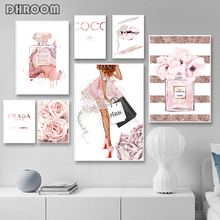 Fashion Poster Perfume Bottle Canvas Art Prints Peony Flower Wall Painting Watercolor Lips Pictures Modern Vogue Girl Room Decor