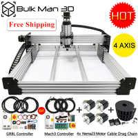 4 Axis WorkBee CNC Router Machine Kit + Mach3 GRBL USB Controller Bundle + Cable Drag Chain Bundle + 4pcs Nema23 Stepper Motors