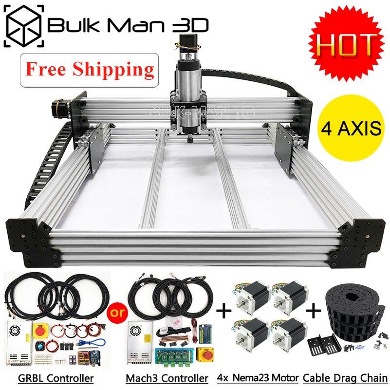 4 axes WorkBee CNC routeur Machine Kit + Mach3 GRBL USB contrôleur Bundle + câble glisser chaîne paquet + 4 pièces Nema23 moteurs pas à pas