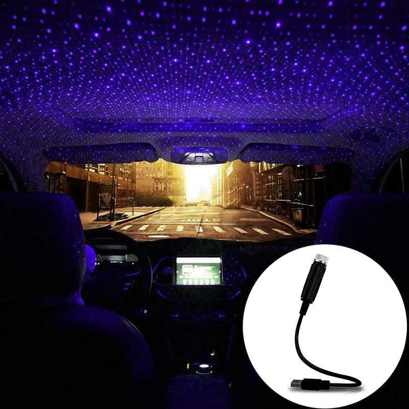 Wnętrze auta oświetlenie sufitowe projektor USB Star światła samochodowe dekoracja lampy światła akcesoria samochodowe atmosfera LED światło nocne
