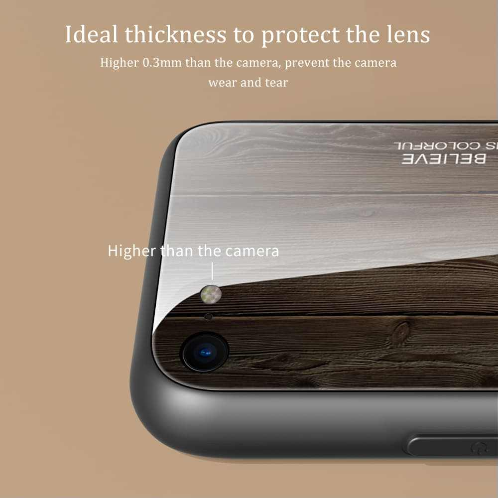 Mewah Kayu Alam Pola untuk iPhone 11 Pro Max X XR XS Kayu Tempered Glass Case Melindungi Penutup Belakang untuk iPhone 8 7 6 S PLUS