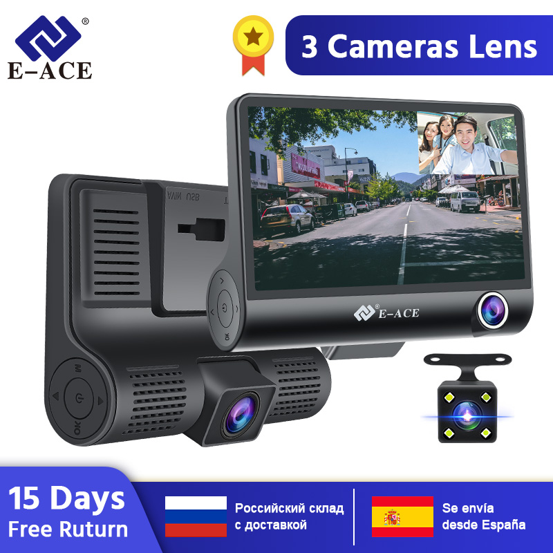 E-ace best car dash dvr 3 cameras lens 4.0 inch dash camera dual front and back lens with rearview camera video recorder auto registrator dvrs