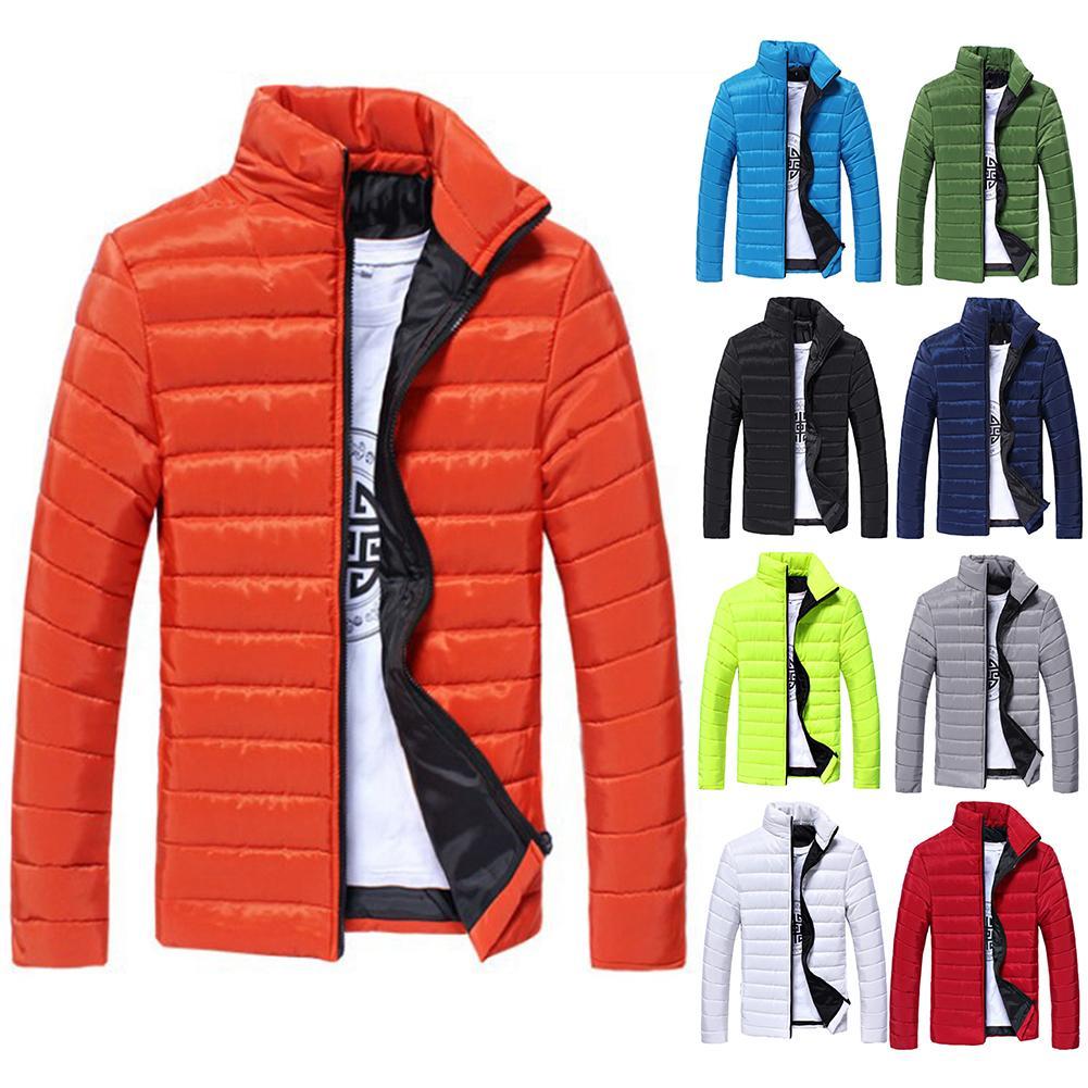 Jackets Winter Men Solid Color Parkas Stand Collar Long Sleeve Parkas Warm Cotton Quilted Coat Jacket S-lim Men's Coat Erkek Mon