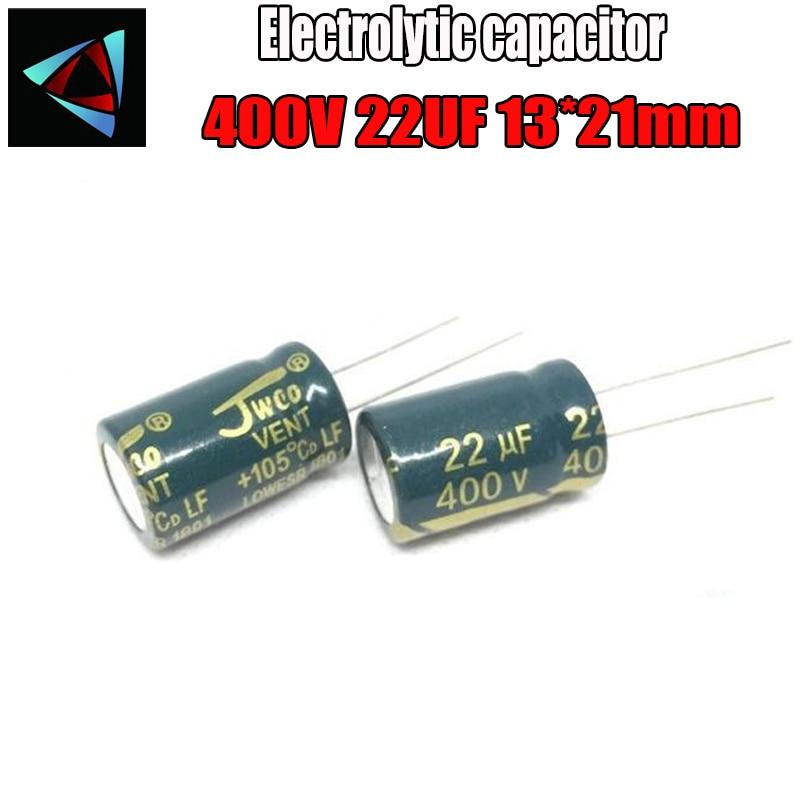 3PCS Higt Quality 400V 22UF 13-21mm 22UF 400V 13*21 Electrolytic Capacitor