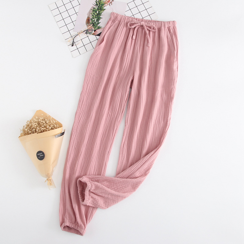 Summer Cotton Men And Women Loose-Fit Home Pants Pure Cotton Crepe Sleep Pants Closing Cotton Couples Loose-Fit Anti Mosquito Pa