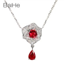 BAIHE Solid 18K White Gold Certified 0.35ct+0.45ct 100% Genuine Natural Rubis Women Wedding Trendy Fine Jewelry Gift Necklaces(China)