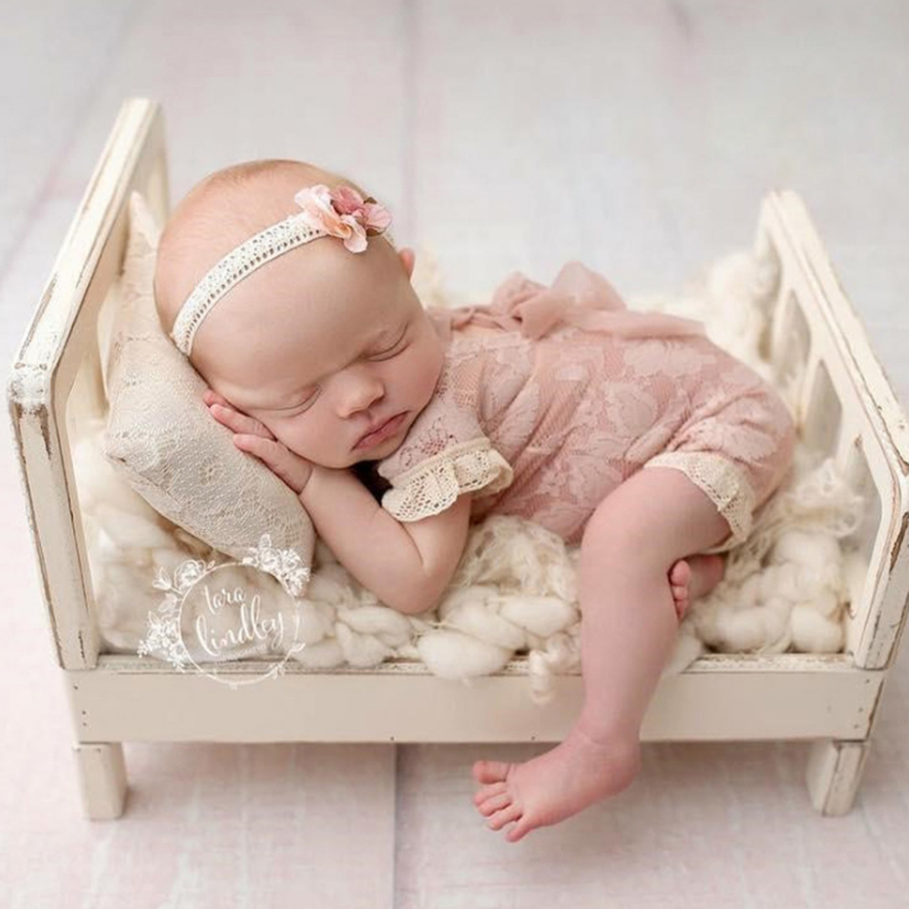 CYSINCOS Newborn Photography Props Posing Wood Bed Baby Photography Props Photo Studio Crib Props For Photo Shoot Posing Sofa
