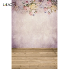 Laeacco Flower Pattern Wall Wooden Floor Baby Child Photography Backgrounds Customized Photographic Backdrops For Photo Studio