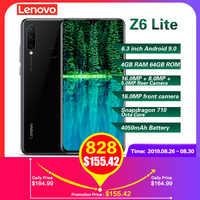 Lenovo Z6 Lite 4G Smartphone 6.3'' Android 9.0 Snapdragon 710 Octa Core 4GB RAM 64GB ROM 16.0MP+8.0MP+5.0MP 4050mAh Mobile Phone