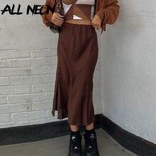ALLNeon Indie Aesthetics High Waist Brown Skirts Y2K Vintage Slit Hem A-line Midi Skirt 90s Streetwear Summer Casual Bottoms New
