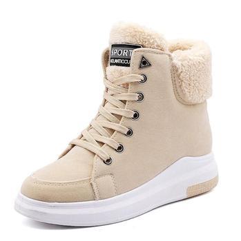 Botas de invierno, zapatos de mujer 2020, botas de nieve cálidas con tacón cuadrado de felpa para mujer, botas al tobillo con cordones para mujer, zapatos de invierno, botas de mujer
