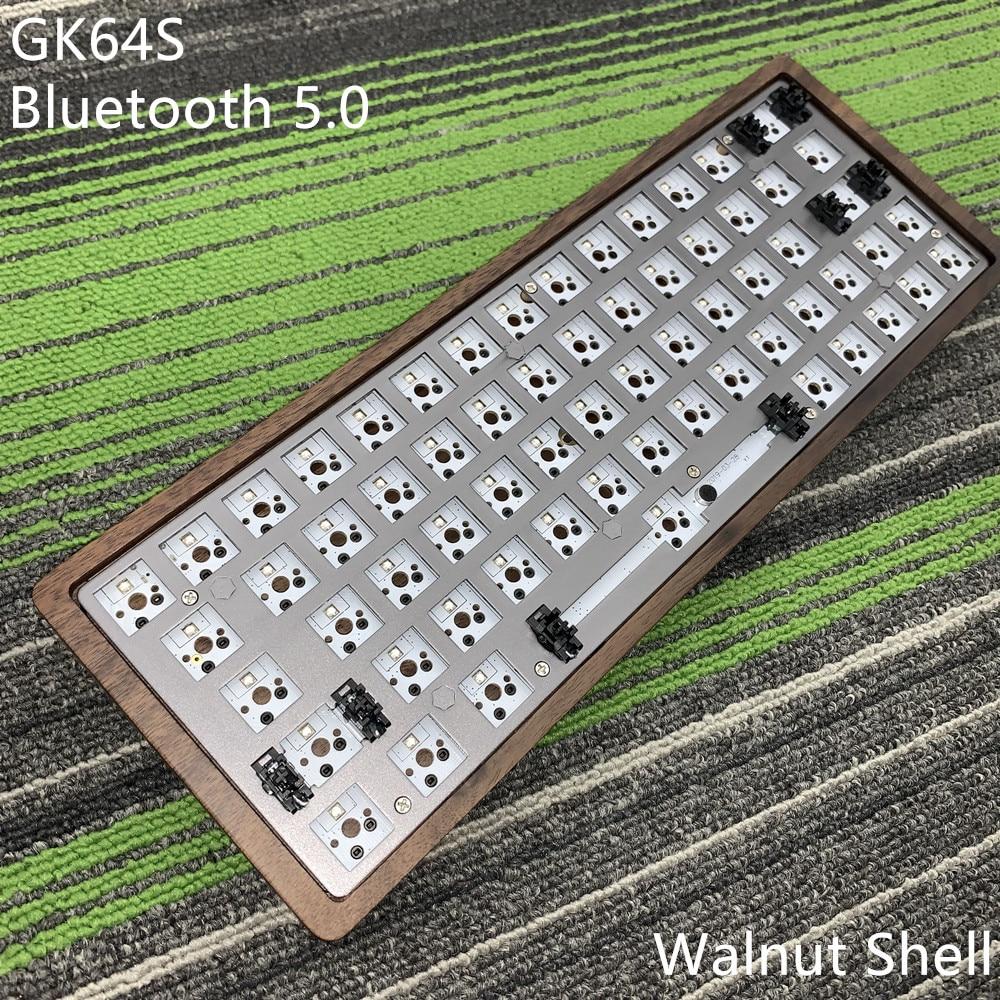 Kit de teclado GK64 S GK64 GK64S caja de madera CNC placa PCB cabo con Bluetooth 2 vendidos