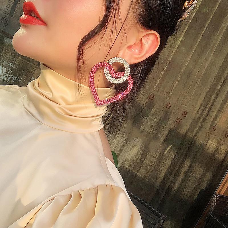Fashion Cubic Zirconia Oversized Exaggerated Heart Shaped Drop Earrings For Women Rhinestone Elegant Sexy Female Wedding Jewelry
