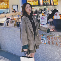 2019 Autumn winter suit fashion female Korean version of a small suit jacket short skirt casual two piece set reduced age