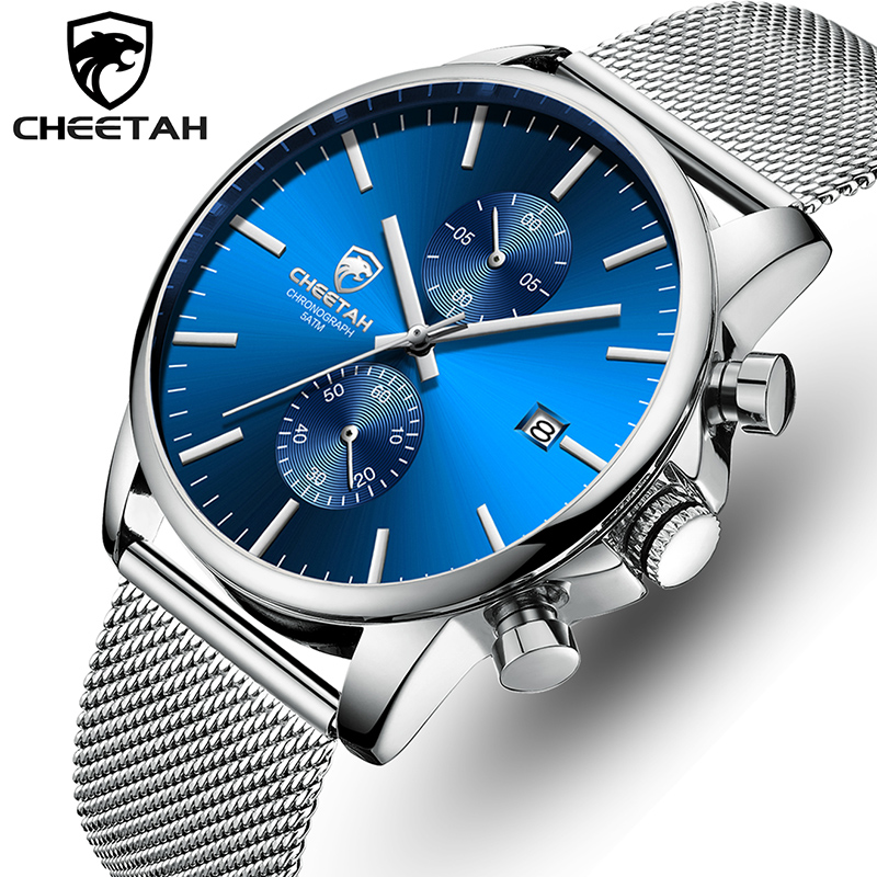 CHEETAH Men Watch New Top Brand Stainless Steel Waterproof Chronograph Watches Mens Business Blue Quartz Wristwatch Reloj Hombre
