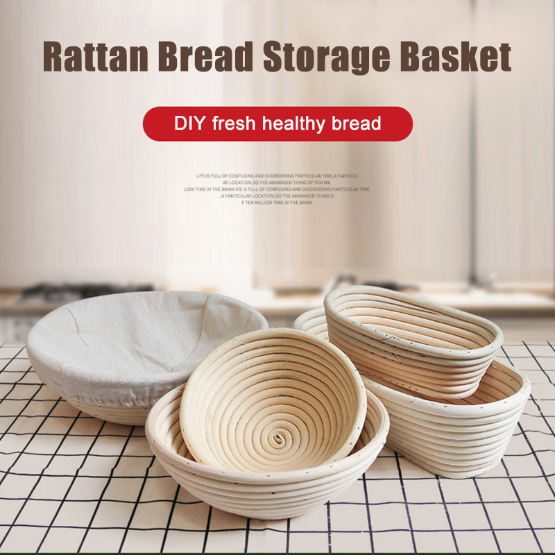 Round Banneton Dough Rising Rattan Bread Proofing Baskets For Home Baking Bread Fermentation Basket Food Storage Basket