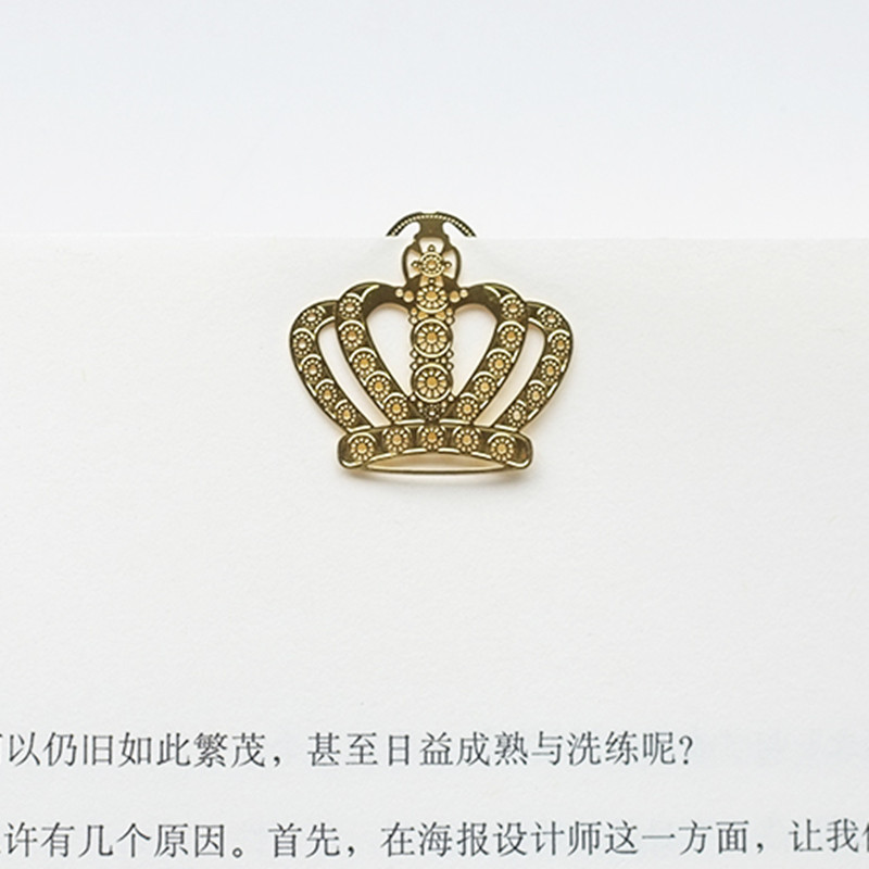 4pcs/lot Cool Retro Crown Design Bookmark Paper Metal Gold Plated Metal Bookmarks Lovely Teacher Supplies Stationery