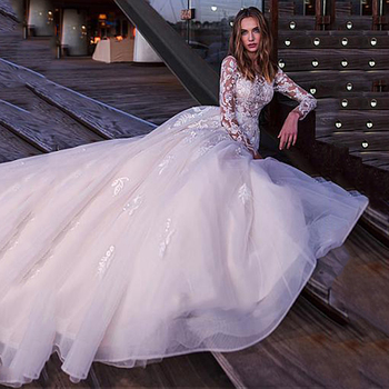Boho Long Sleeves Wedding Dress 2020 Robe de mariee Sexy Top Lace Appliques Bridal Plus Size Gowns - discount item  43% OFF Wedding Dresses
