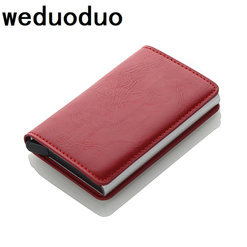 Antitheft Card holder Rfid Blocking Wallet Metal Credit Card Holder Automatic Vintage Aluminum Wallet PU Leather rfid wallet