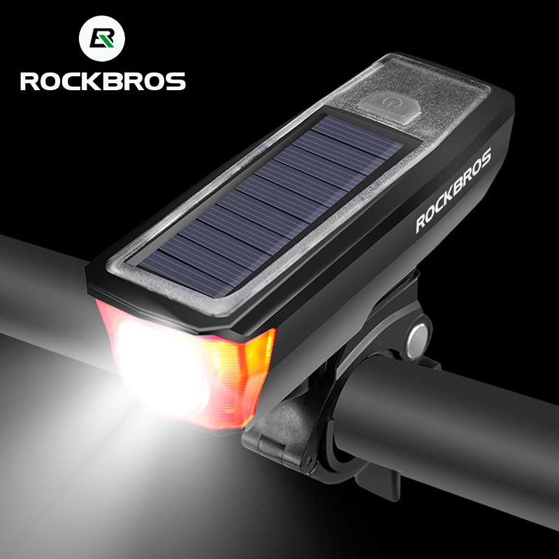 ROCKBROS Solar IPX4 Waterproof Bicycle Headlights 2000 mAh USB Charging Bike Light Bike Bell 120 dB Smart Switch Multiple Modes