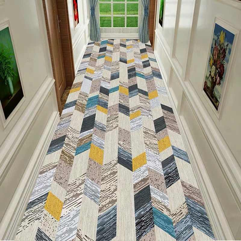 tapis de sol nordique antiderapant geometrique pour escalier long couloir d entree couloir couloir hotel mariage