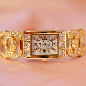 Image 4 - Vrouwen Horloges Dames Quartz Horloge Vierkante Diamanten Luxe Merk Armband Horloge Voor Vrouwen Strass Vrouwelijke Horloge Relogios