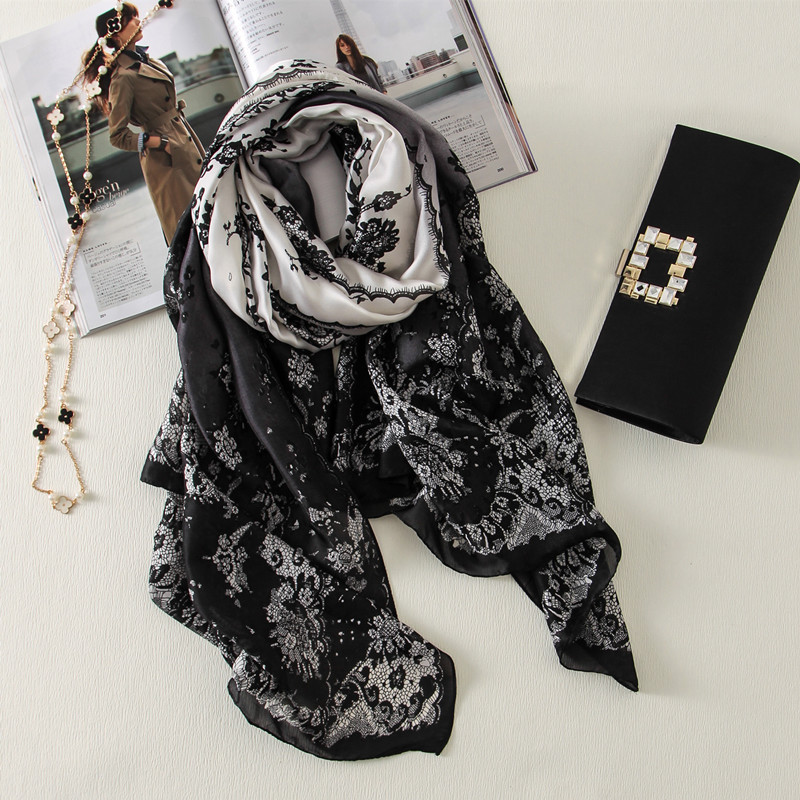 2019 China Luxury Brand Summer And Autumn Women Fashion  Flowers Large Shawl Silk Scarves Foulard Beach Wraps Hijab