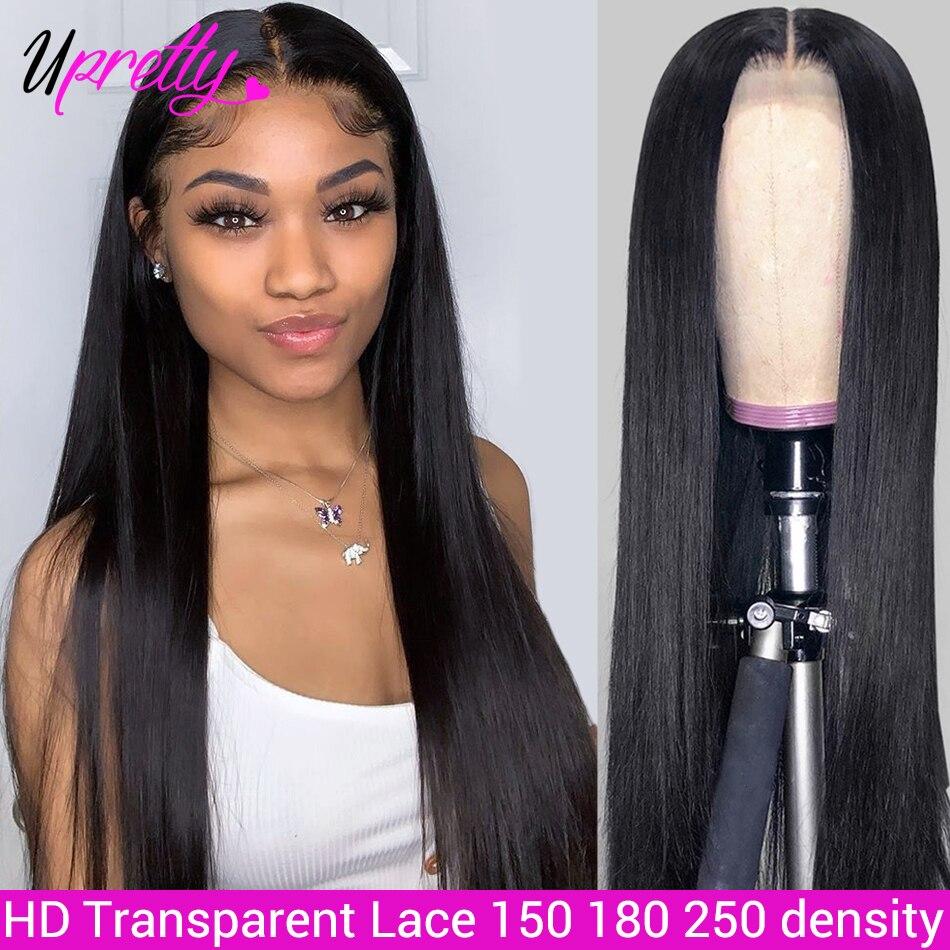 Upretty peruca dianteira do laço em linha reta cabelo remy brasileiro 360 laço fronal peruca pré arrancado com o cabelo do bebê frente do laço peruca de cabelo humano