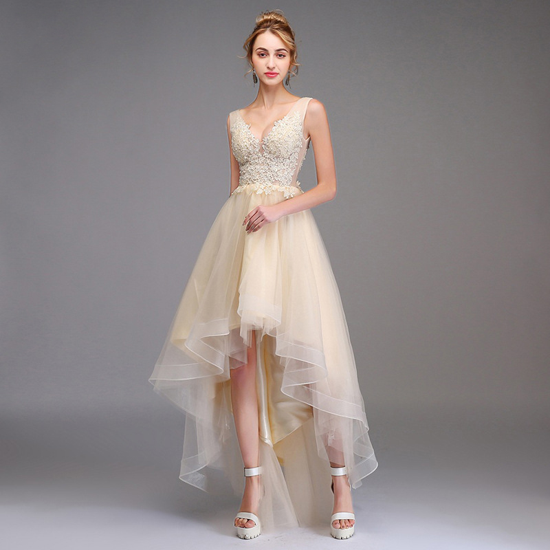 Prom Dress With Applique  Ball Gown Double V-Neck Asymmetrical Sleeveless Organza Elegant
