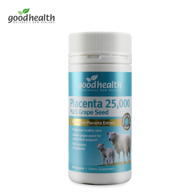 Good Health Sheep Placenta 25000mg Plus Grape Seed 60S Dietary Supplement General Well-being Improve Vitality Women Health Skin image