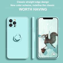 Case For iPhone 12 11 Pro Max Case Silicone With Ring Holder Magnetic Cover For iPhone XR X XS Max 7 8 Plus SE 2020 Case Cover