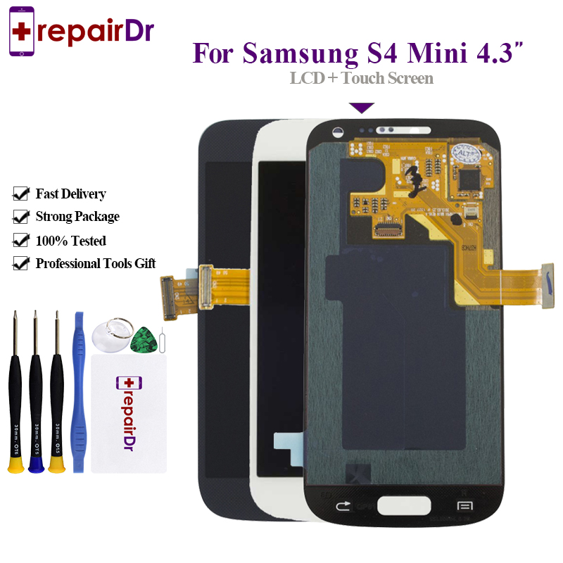 Amoled Lcd For Samsung Galaxy S4 Mini I9190 i9192 i9195 LCD Display Touch Screen Digitizer with Frame For Samsung S4 mini Lcd image