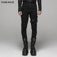 PUNK RAVE Men Steampunk Rock Long Pants Gothic Daily Handsome Trousers Personality Streetwear Cotton Pants