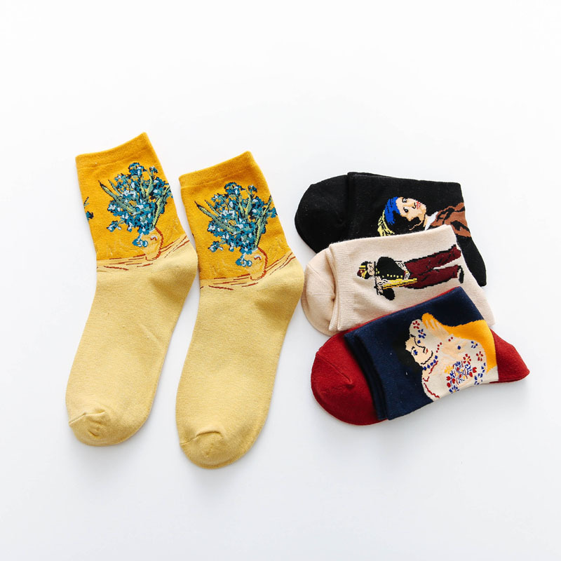 Streetwear Funny Winter Lady Retro Van Gogh Modern Oil Paint Female Cotton Socks Cute Warm Short Art Abstract Happy Women Sock