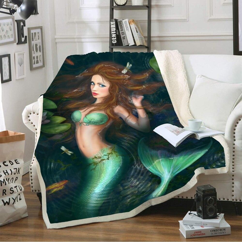 Mermaid Print Magic World Sherpa Fleece Warm Blanket Floral Leaves Coral Blanket on Sofa Kids Bedding Home Blanket 150x200cm