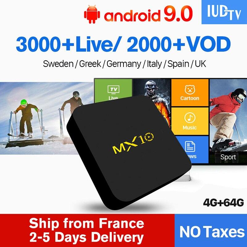 IPTV Spanish Italia MX10 4G 64G Android 9 0 TV Box S912 IUDTV IPTV Europe Turkey