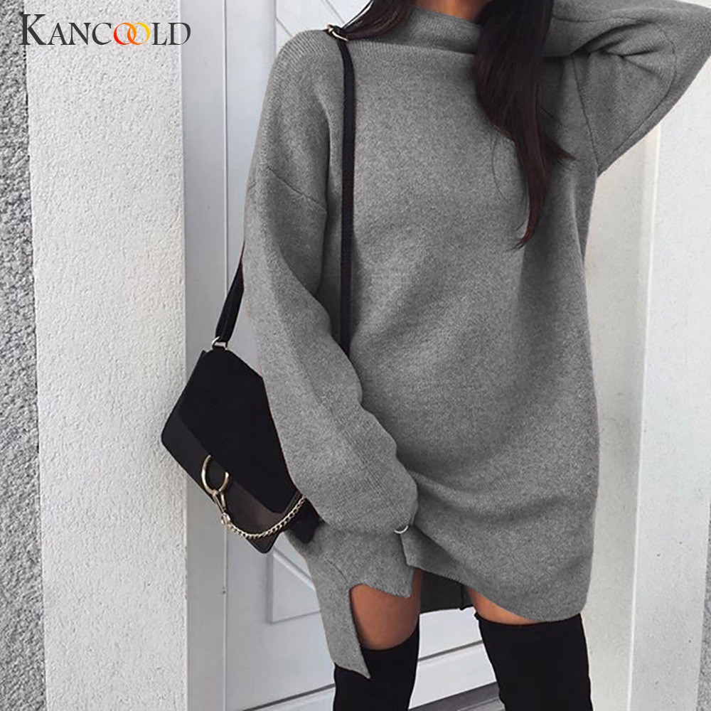 KANCOOLD Women Autumn Casual Dress Loose Knit Sweater Dress Female Solid Color High Collar Long Sleeve Dresses