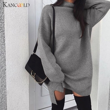 KANCOOLD Women Autumn Casual Dress Loose Knit Sweater Dress