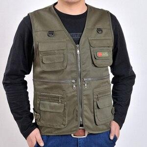 Image 4 - 男性の綿のマルチポケットベスト夏新男性カジュアル薄型ノースリーブジャケット多くポケットメンズカメラマンだぶだぶチョッキ