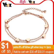 Vnox Heart Anklet Women Double Layer Rose Gold Color Foot Chain(China)
