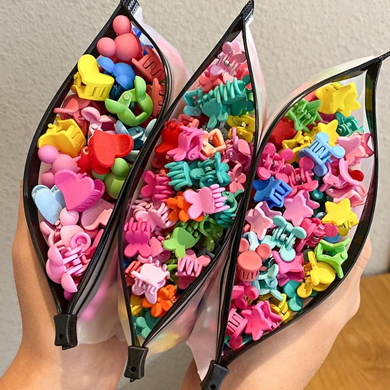 30/50PCS/Set Girls Cute Colorful Flower Star Mickey Small Hair Claws Kids Sweet Hairpins Hair Clips Fashion Hair Accessories