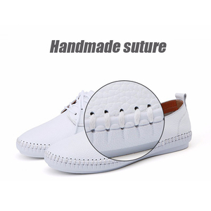 Image 5 - STQ 2020 Spring Women Ballet Flats Oxford Flat Shoes Soft Leather Shoes Ladies Lace Up White Black Loafers Flats Boat Shoes B16
