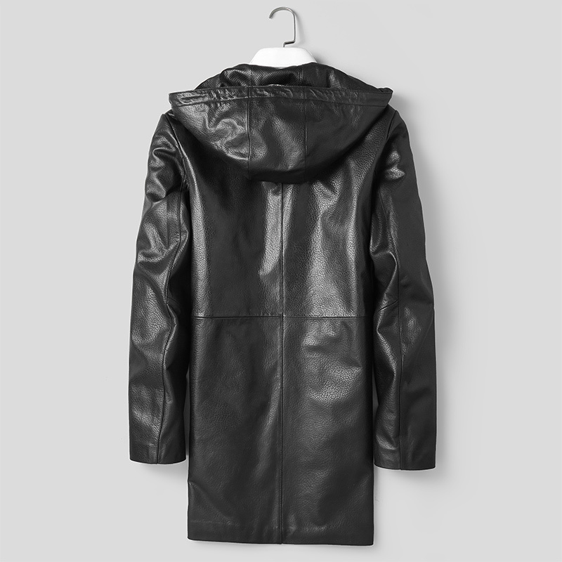 Long Sheepskin Coat Hooded Genuine Leather Jacket Korean Windbreaker Leather Coat Chaqueta Cuero Hombre P-D8528C KJ1609
