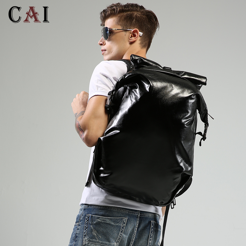 Fashion Luxury Large Capacity PU Travel Black Backpack Men Women 14 15-inch Computer Bookbag Work Leather Backpack School Bags