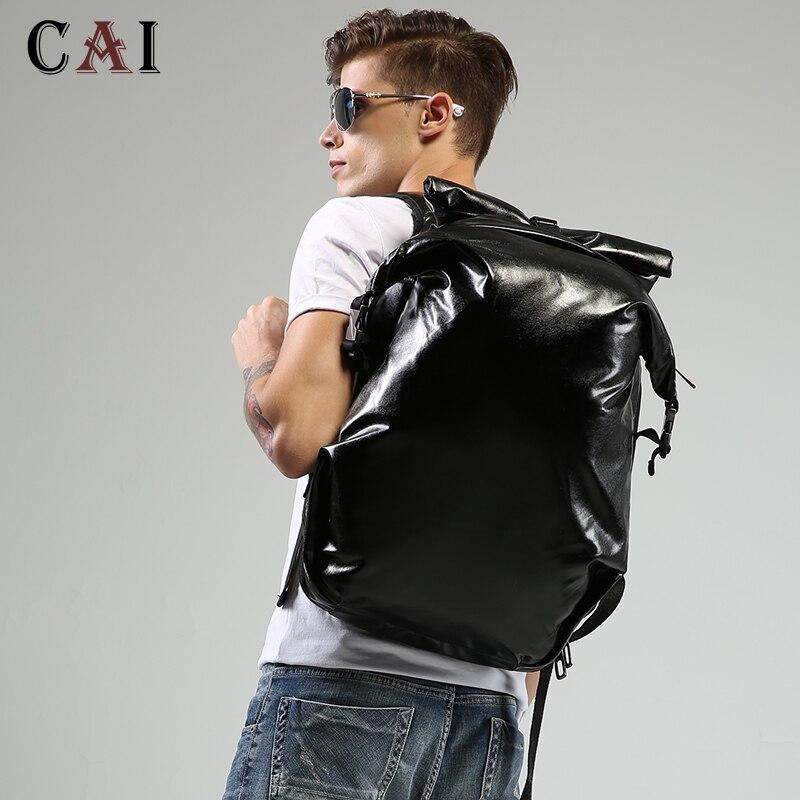 Mode luxe grande capacité PU voyage noir sac à dos hommes femmes 14 15 pouces ordinateur bookbag travail cuir sac à dos sacs d'école