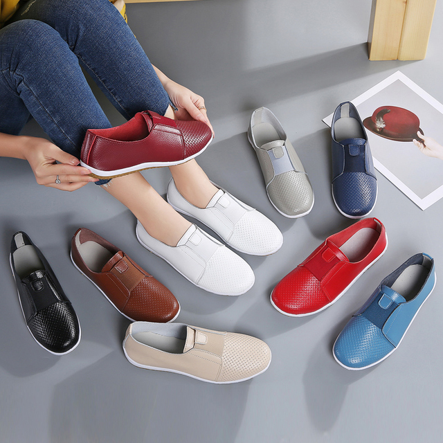 AARDIMI Breathable Sneakers Women Flats Shoes Spring Genuine Leather Ladies Shoes Slip On Casual Flat Shoe Women's Moccasins