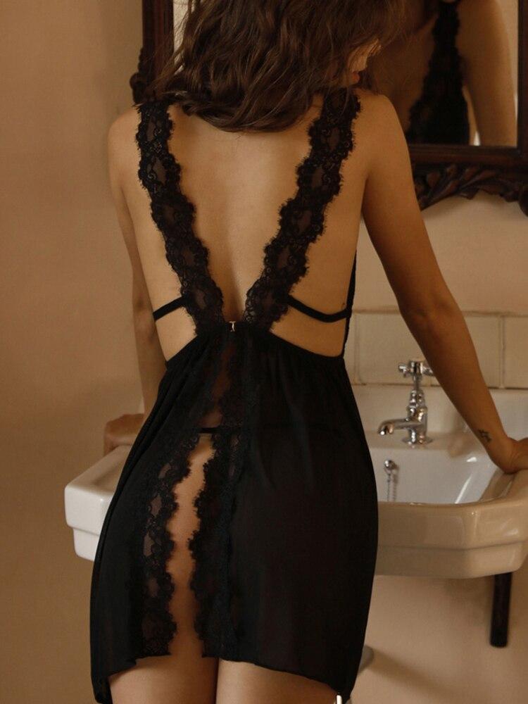 CINOON Womens Sleepwear Nightwear Pajama V-Neck Lace Comfortable Sexy Casual Summer Solid